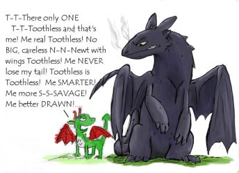 Toothless vs Toothless by StrixMoonwing