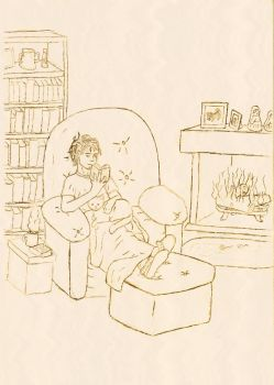By the fireplace : sketch by kalany
