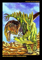 Ceratosaurus Vs. Stegosaurus by BryanBaugh