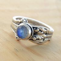 Spoon Ring with Moonstone by metalsmitten