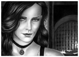 Pencil Portrait of Yennefer  from the Witcher 3 by Jooleya