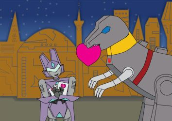 Blitzangel and Grimlock by srg1