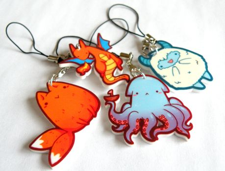 kawaii cell phone charms by michellescribbles