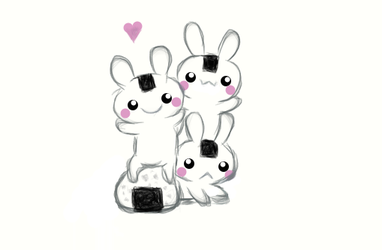 bunnies with riceball xD by Alicia08