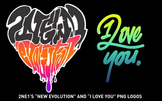2NE1's New Evolution and I Love You PNG Logos by capsvini