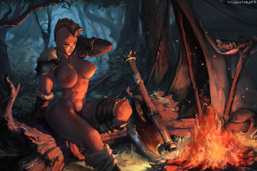 #343 resting at campfire by cutesexyrobutts