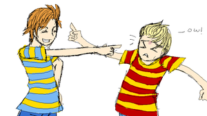 Mother 3 - Lucas and Claus by mikenno