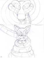 Kaa and Rouge the bat Sketch by lol20