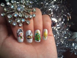 Christmas Snowglobe nail art by amanda04
