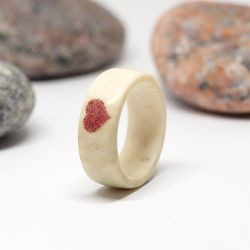 Antler ring with red heart by BDSart
