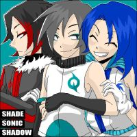 Shade with Sonic and Shadow by akasabi