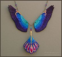 Radiance Falcon Wings - Leather Necklace by windfalcon