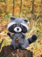 Raccoon Needle Felted Toy by Lyntoys