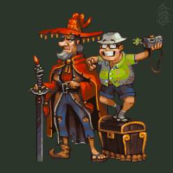 Rincewind, Twoflower, Luggage, Imp and Kring by JINNdev