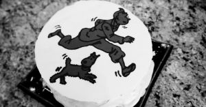 Tintin cake in black and white by Sydney0007