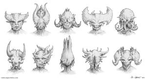 Demon head concepts by Vablo