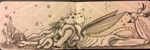 Inktober 5 Kickin it with Our Watery Overlord by gregsbird