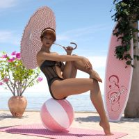 Young girl with beach utensils - Pin-up Art 3D by G-abi-K