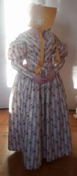 1830's day dress and a 1840's bonnet by LadyCafElfenlake