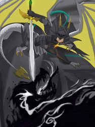 Dragon knight conflict by WhiteDragonPictures