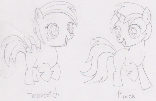Pluck and Hopscotch (Sketch/WIP) by Pony-of-Interest