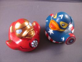 Iron Man and Captain America Ducks by spongekitty