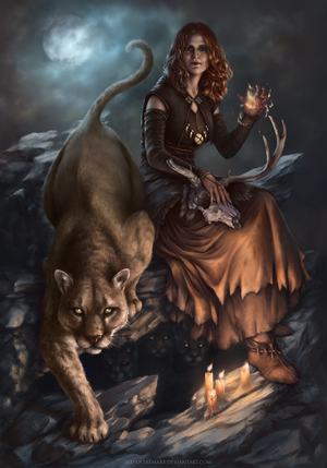 GWENT card: Witch of Lynx Crag by Blu-Oltremare