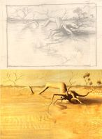 Drought in Outback Sketch by Valnor