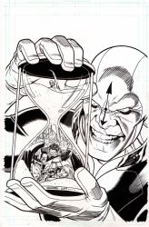 JLA cover #27 pen and ink final