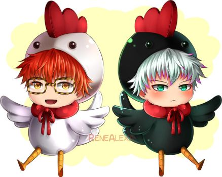 Mystic Messenger - Choi Chickens by renealexa