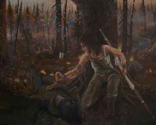Tomb Raider 2013- Acrylic Painting #6 by CurlyWurly808