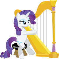 Rarity playing a harp by BucketHelm