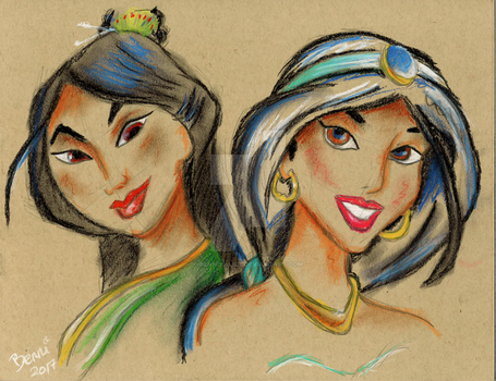 Mulan and Jasmine by alice-castiel