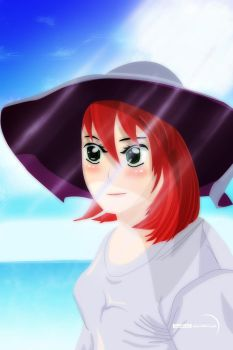 Anime girl on the beach with a hat by MarcinJakubczak