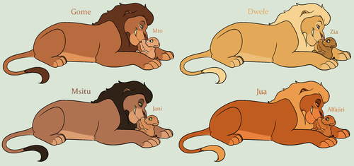 Lion King Lion and Cub Adoptables *CLOSED* by acornheart465