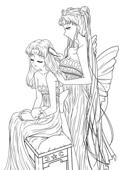 Small Lady + Serenity Lineart by Yureilia