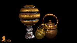 Gold Rusty Lamp and Urns by Lynxette79