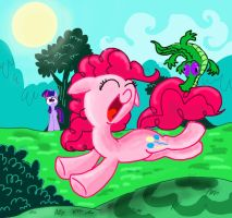 Pinkie Pie playing with Gummy by seriousdog