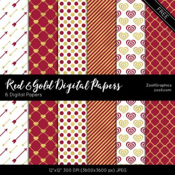Red And Gold Digital Papers by MysticEmma