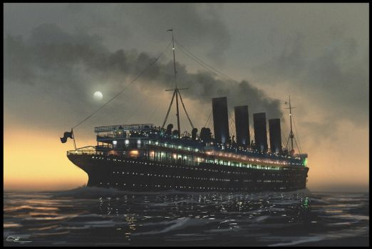 Lusitania at night by Eliott-Chacoco
