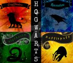 Fabric Design: Hogwarts Houses by wolf-girl87
