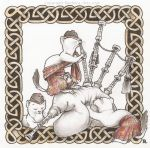 Three stoats wearing a kilt playing the bagpipe by Ejderha-Arts