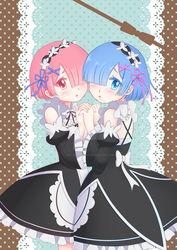 Rem and Ram by Cristal-Zhaduir