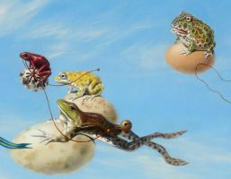 Egg Race - detail frogs by LindaRHerzog