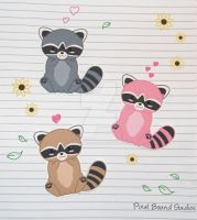 Chibi Raccoon Stickers and Magnets by pixelboundstudios
