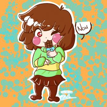 Chara Chewing Chocolate by SweeterSymphony
