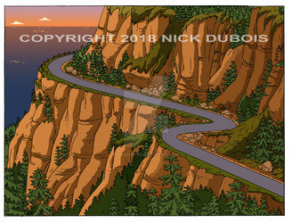 HS Ext Mountains Cliff Highway Sunset ND Color Dep by NDuBdesigns