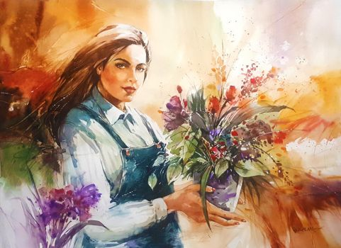 Flower Girl (Dahlia) - Watercolour Painting by Abstractmusiq