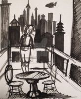 Rabiah looks out at Republic City sketch by TheTale-Of-Rabiah