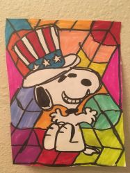 Snoopy 4th Of July Art Colorful Design Drawing  by NWeezyBlueStars23